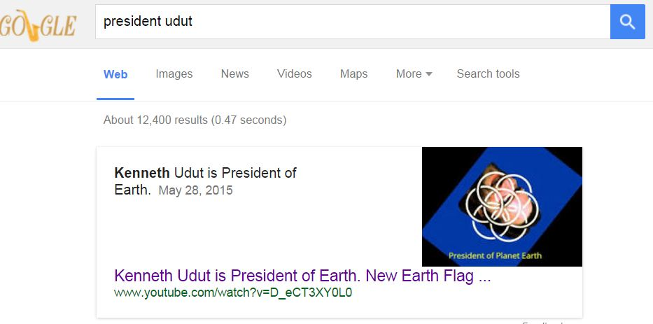 Kenneth Udut is President of Earth